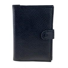 На фото 1 - Кожаная обложка на кнопке для паспорта и автодокументов, цвет чёрный