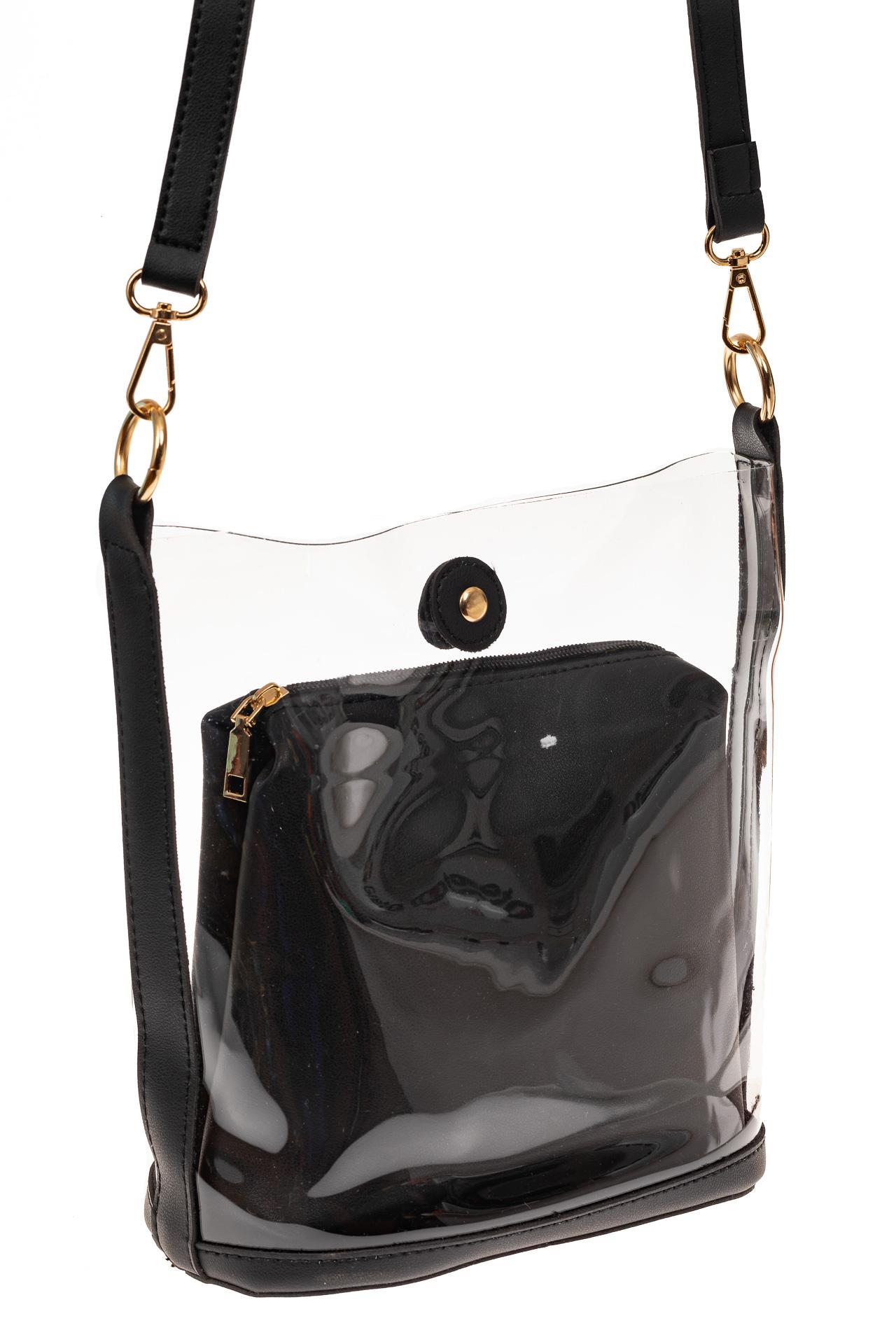 На фото 1 - Сумка из прозрачного винила и эко-кожи, цвет черный