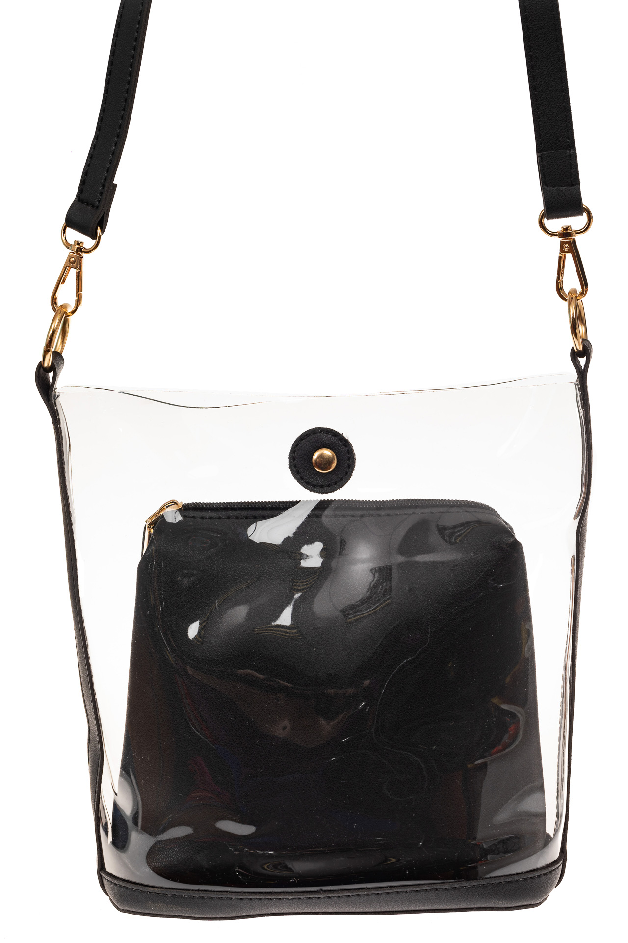 На фото 2 - Сумка из прозрачного винила и эко-кожи, цвет черный