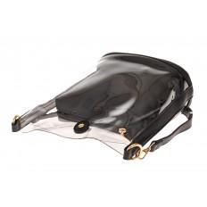 На фото 3 - Сумка из прозрачного винила и эко-кожи, цвет черный