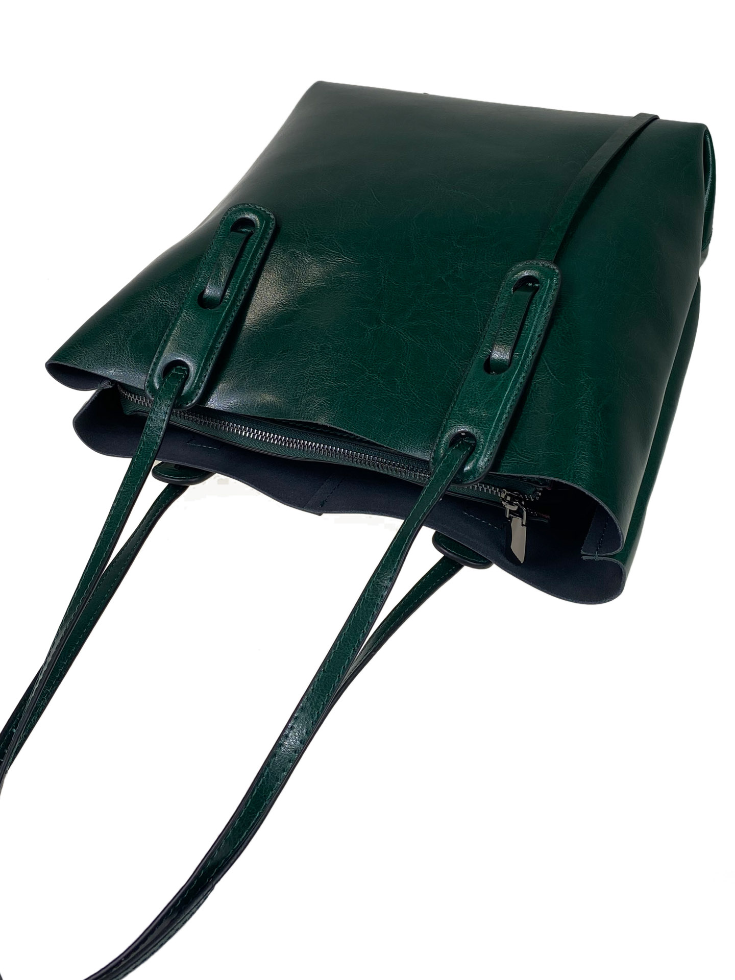 На фото 4 - Классический женский тоут из натуральной кожи, цвет зелёный