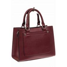 На фото 1 - Классическая женская сумка из натуральной кожи, цвет винный