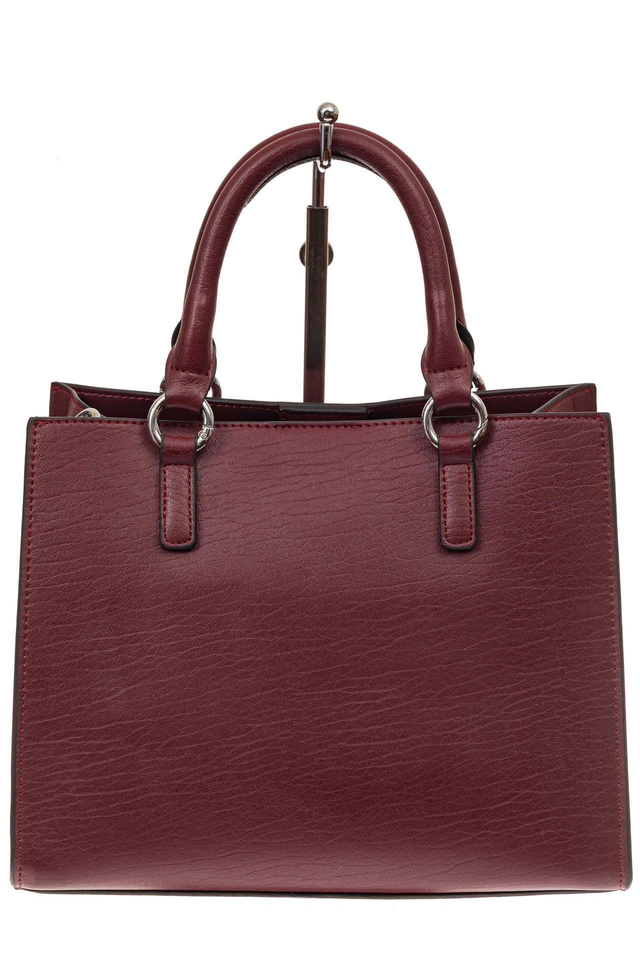 На фото 2 - Классическая женская сумка из натуральной кожи, цвет винный