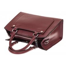 На фото 3 - Классическая женская сумка из натуральной кожи, цвет винный