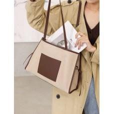 На фото 1 - Женская сумка из натуральной кожи, цвет бежевый