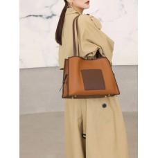 На фото 1 - Женская сумка из натуральной кожи, цвет рыжий