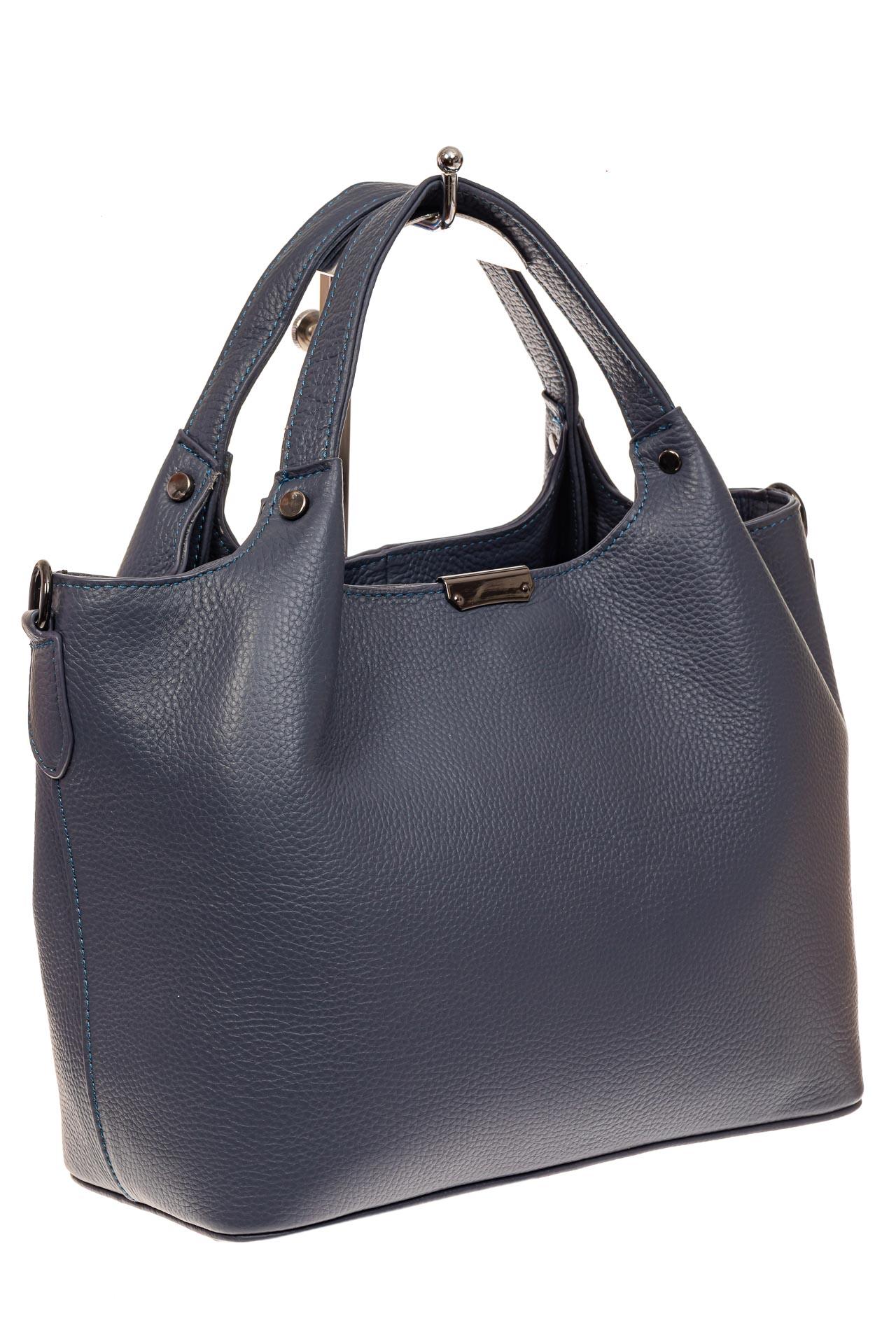 Женская сумка из натуральной кожи, цвет серо-синий