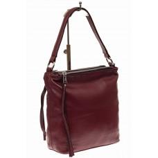 На фото 1 - Женская сумка из натуральной кожи, цвет виш...