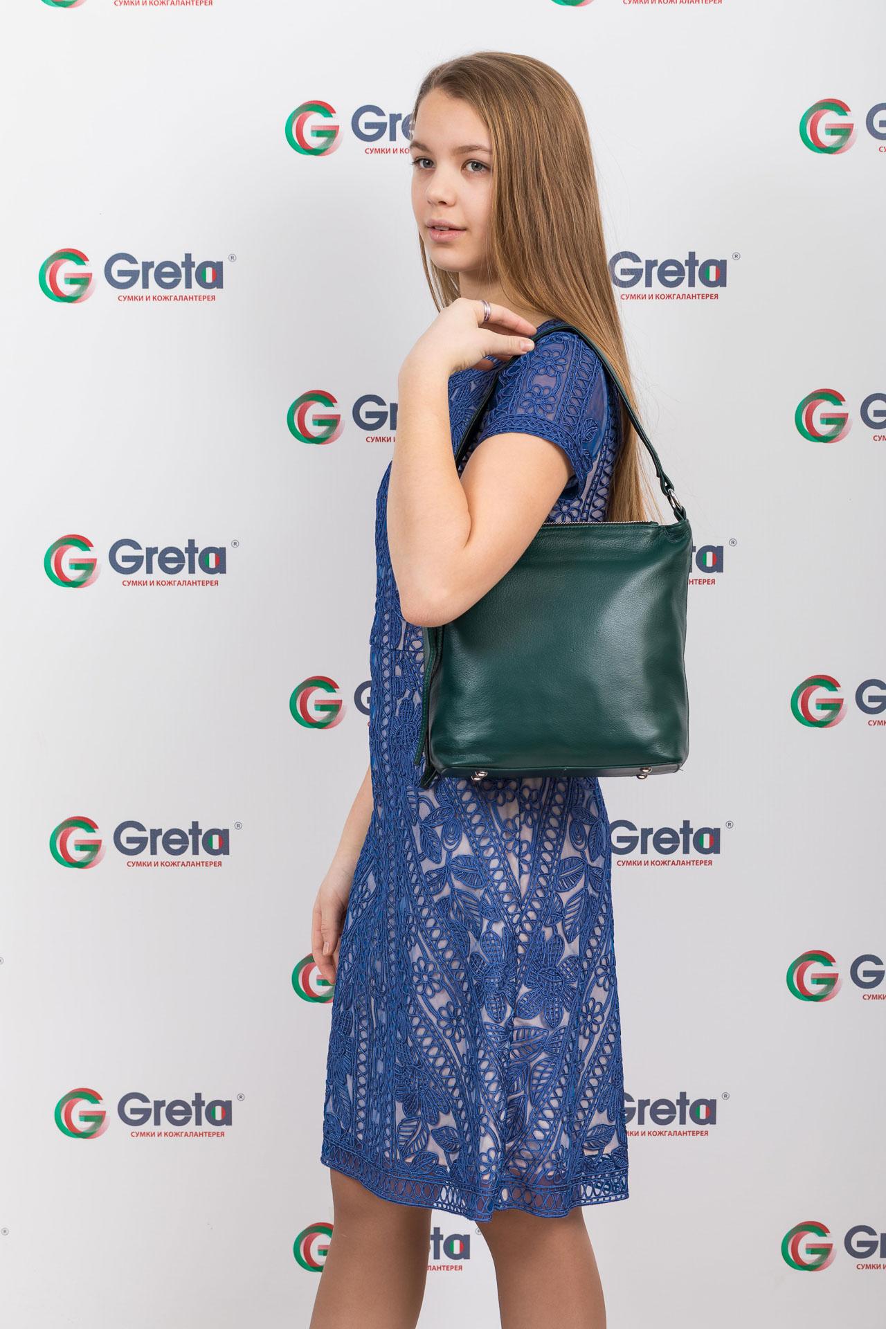На фото 4 - Женская сумка из натуральной кожи, цвет зеленый