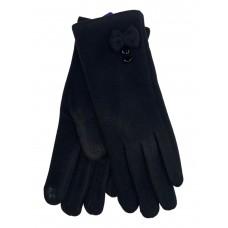 На фото 1 - Утеплённые женские перчатки из велюра с декором, цвет чёрный