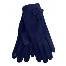 На фото 1 - Утеплённые женские перчатки из велюра с декором, цвет тёмно-синий