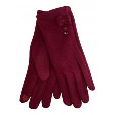 На фото 1 - Утеплённые женские перчатки из велюра с декором, цвет бордовый