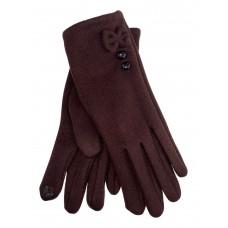 На фото 1 - Утеплённые женские перчатки из велюра с декором, цвет шоколад