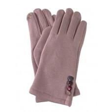 На фото 1 - Женские утеплённые перчатки из велюра с декором, цвет пудровый