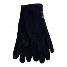 На фото 1 - Женские утеплённые перчатки из велюра с декором, цвет чёрный