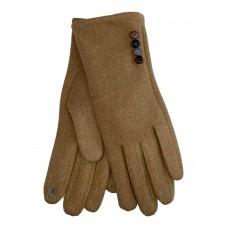 На фото 1 - Женские утеплённые перчатки из велюра с декором, цвет песочный