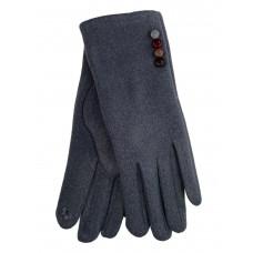 На фото 1 - Женские утеплённые перчатки из велюра с декором, цвет серый