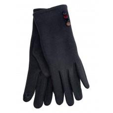 На фото 1 - Женские утеплённые перчатки из велюра с декором, цвет тёмно-серый