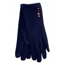 На фото 1 - Женские утеплённые перчатки из велюра с декором, цвет тёмно-синий