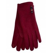 На фото 1 - Женские утеплённые перчатки из велюра с декором, цвет бордовый
