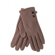 На фото 1 - Женские утеплённые перчатки из велюра с декором, цвет какао