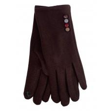 На фото 1 - Женские утеплённые перчатки из велюра с декором, цвет шоколад