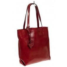 На фото 1 - Сумка-пакет из натуральной кожи, красный