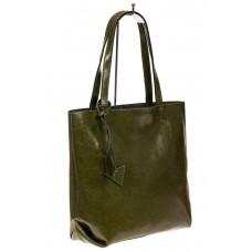 На фото 1 - Сумка-пакет из натуральной кожи, зеленый
