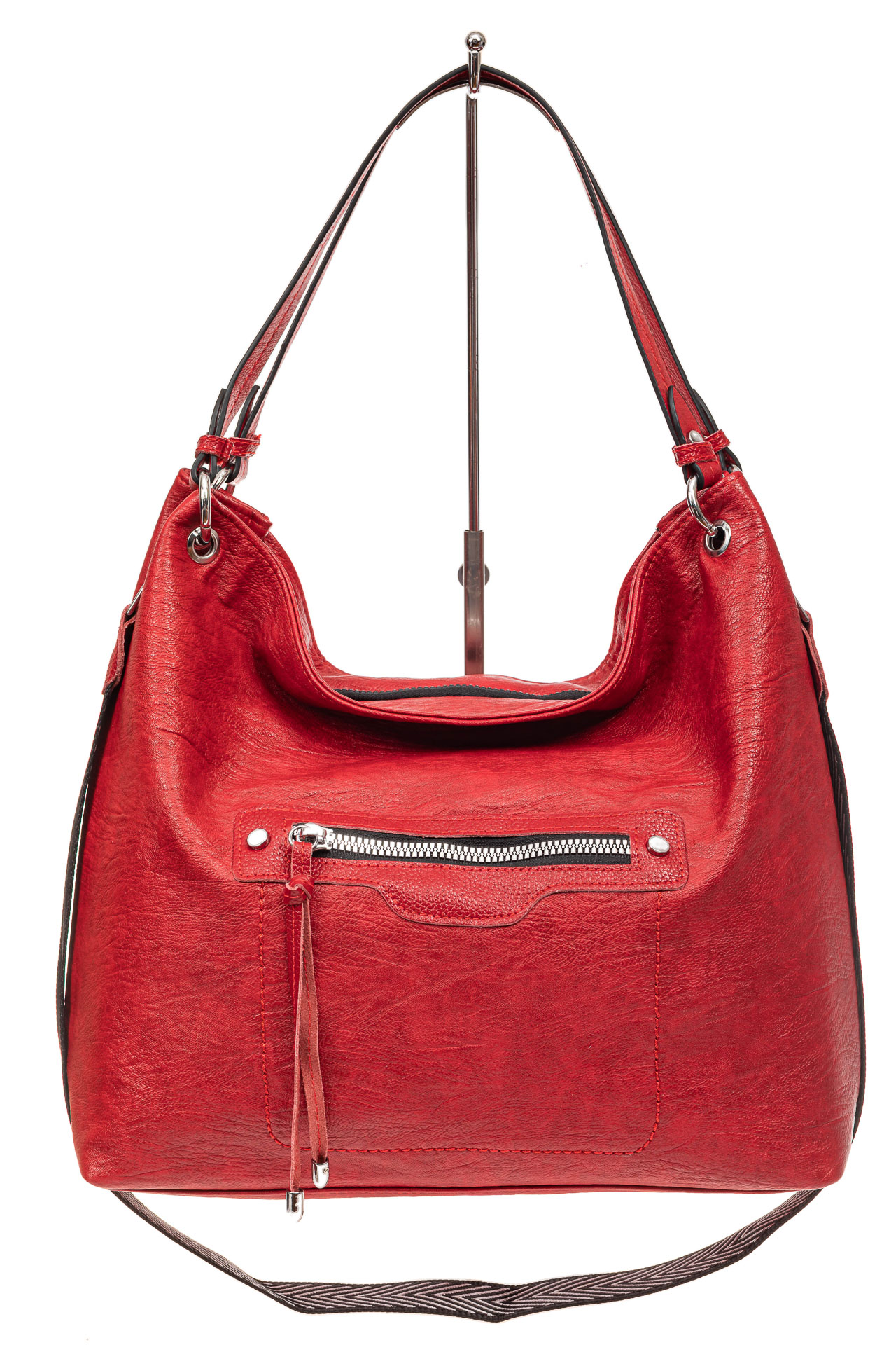 На фото 2 - Большая женская сумка из искусственной кожи, цвет красный