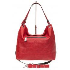 На фото 3 - Большая женская сумка из искусственной кожи, цвет красный