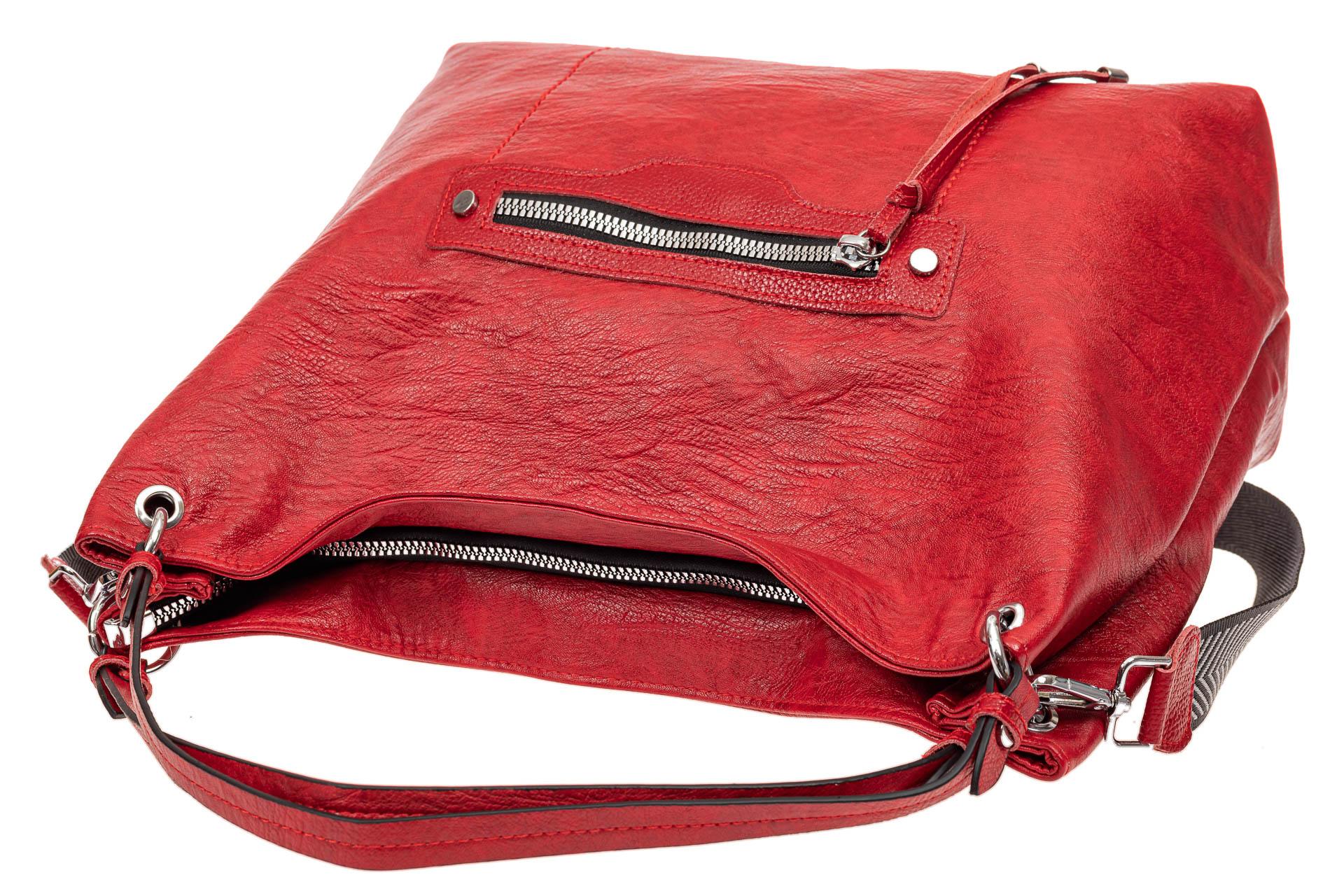 На фото 4 - Большая женская сумка из искусственной кожи, цвет красный