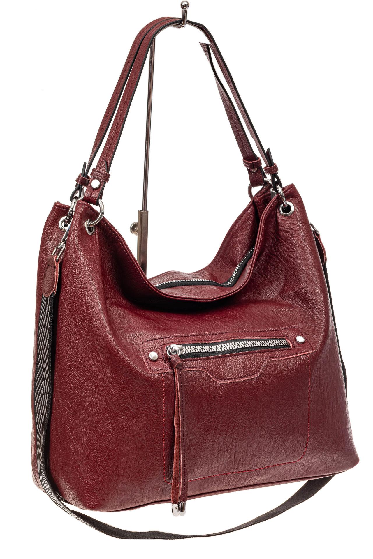 Большая женская сумка из искусственной кожи, цвет бордо669-20PU1019/4