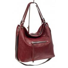 На фото 1 - Большая женская сумка из искусственной кожи, цвет бордо