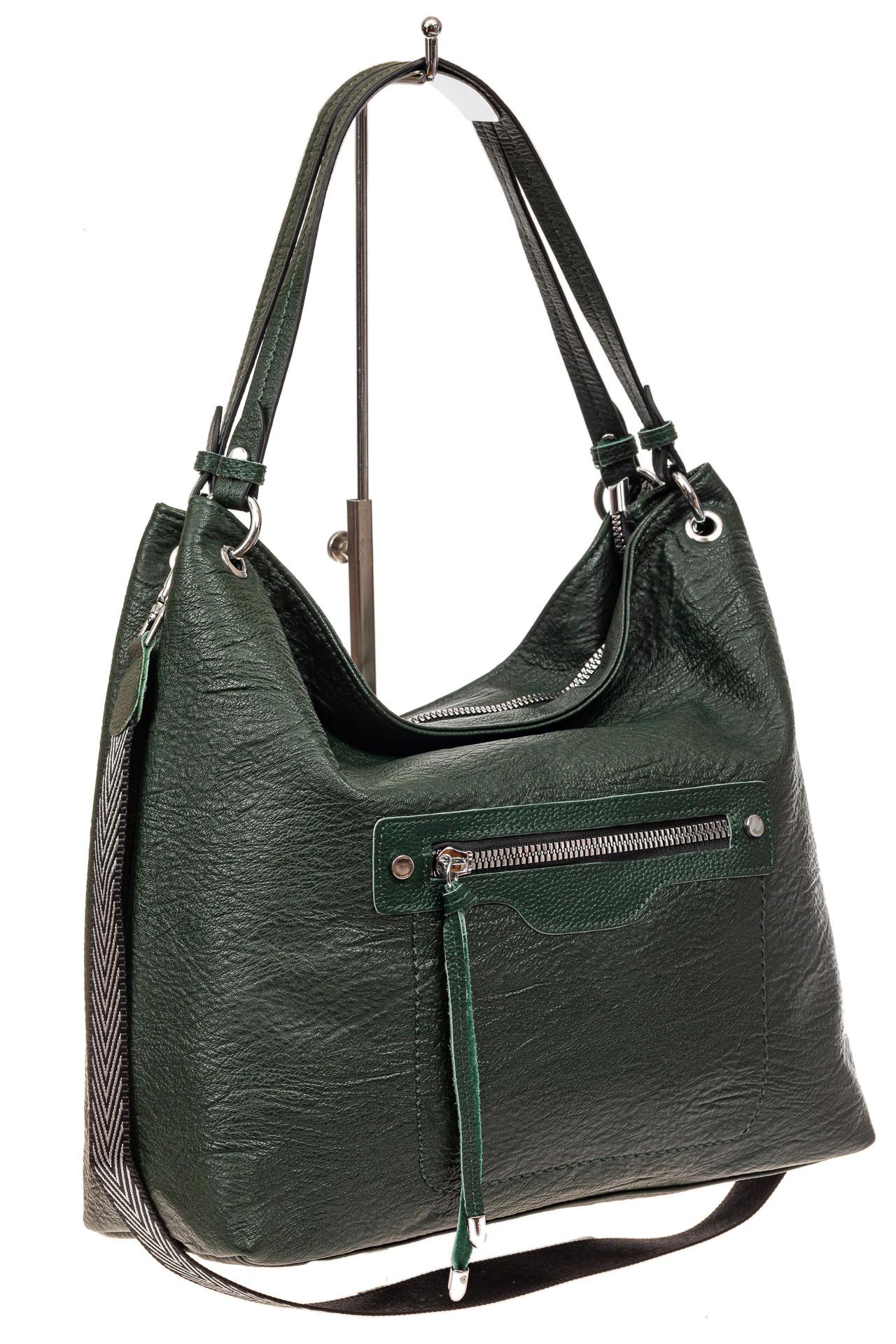 Большая женская сумка из искусственной кожи, цвет зеленый669-20PU1019/7