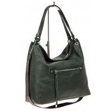 На фото 1 - Большая женская сумка из искусственной кожи, цвет зеленый