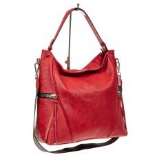На фото 1 - Большая женская сумка из искусственной кожи, цвет красный