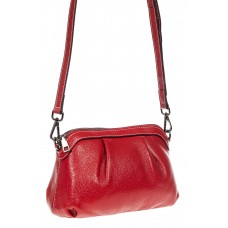 На фото 1 - Сумка женская кросс-боди из натуральной кожи, цвет  красный