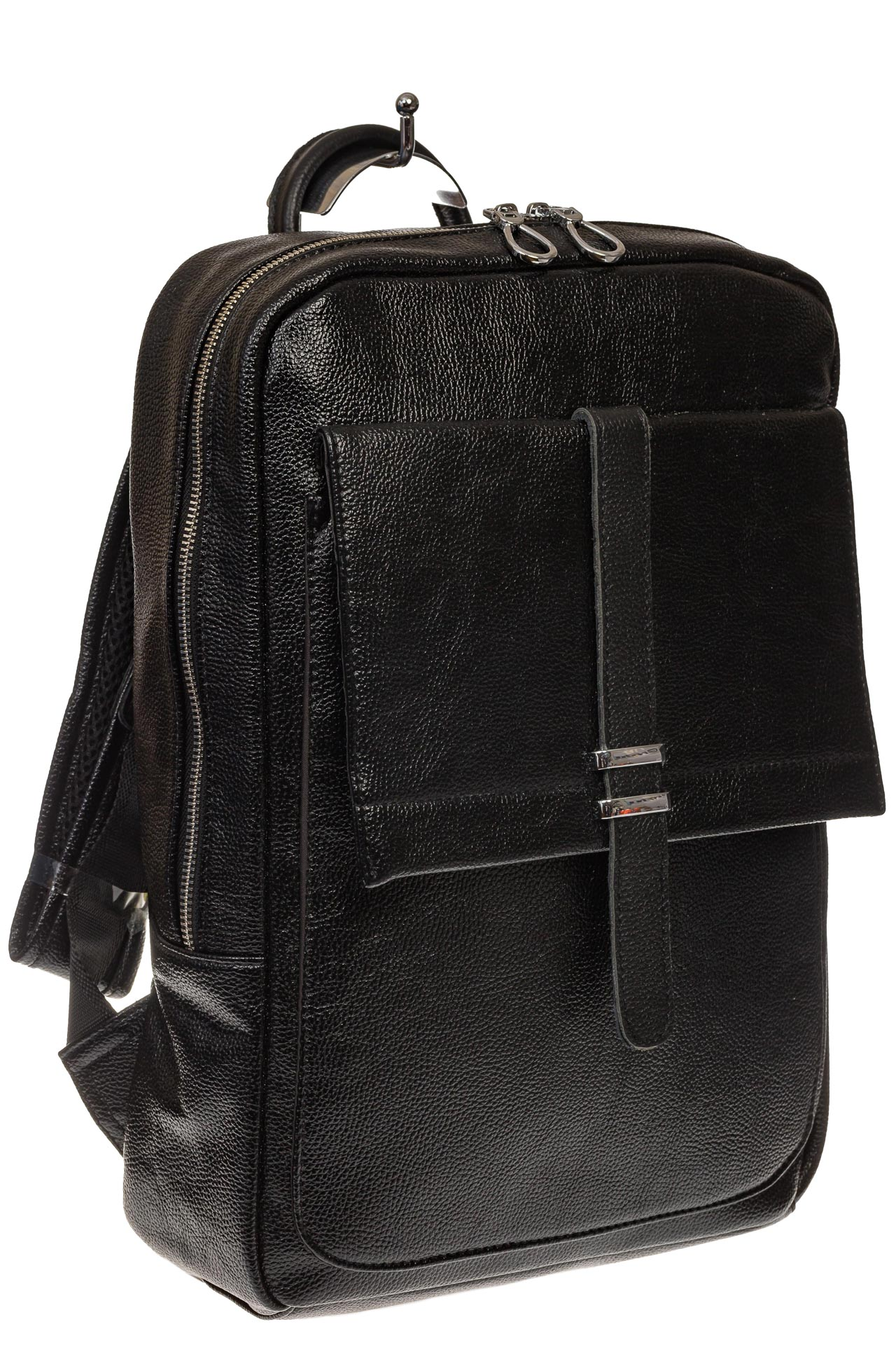 На фото 1 - Черная мужская сумка из искусственной кожи