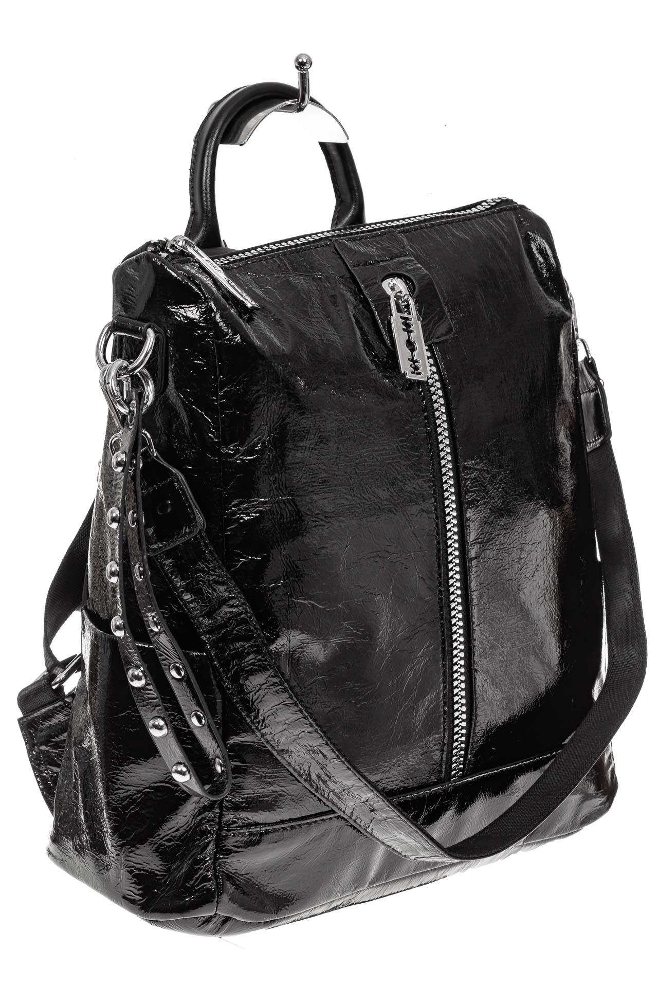 На фото 1 - Большой городской рюкзак из искусственной кожи, цвет черный