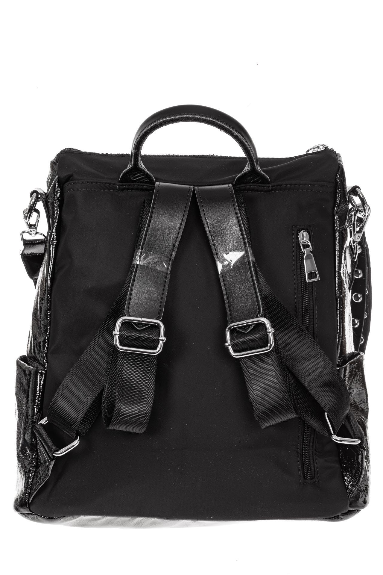 На фото 2 - Большой городской рюкзак из искусственной кожи, цвет черный