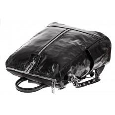 На фото 3 - Большой городской рюкзак из искусственной кожи, цвет черный