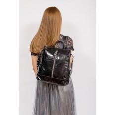 На фото 4 - Большой городской рюкзак из искусственной кожи, цвет черный