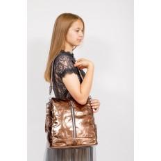 На фото 4 - Большой городской рюкзак из искусственной кожи, цвет бронза