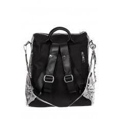На фото 2 - Большой городской рюкзак из искусственной кожи, цвет серебро