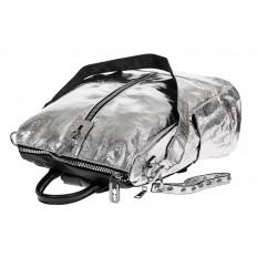 На фото 3 - Большой городской рюкзак из искусственной кожи, цвет серебро