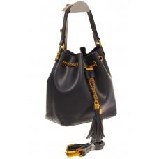 На фото 1 - Женская сумка-торба черного цвета из эко-кожи 68065