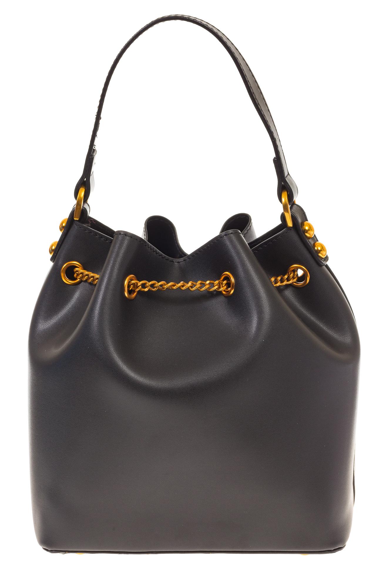 На фото 3 - Женская сумка-торба черного цвета из эко-кожи 68065