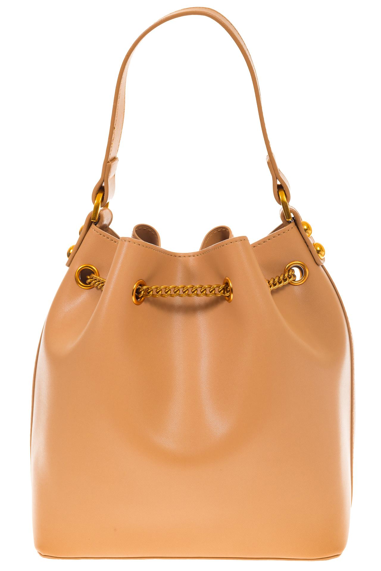 На фото 3 - Женская сумка-торба бежевого цвета из эко-кожи 68065