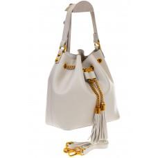 На фото 1 - Женская сумка-торба белого цвета из эко-кожи 68065