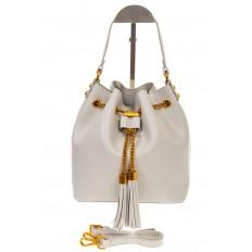 На фото 2 - Женская сумка-торба белого цвета из эко-кожи 68065